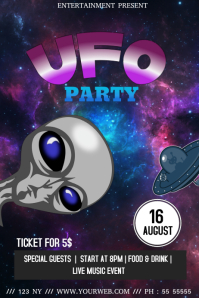 Ufo costume party club event flyer template