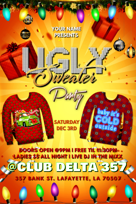 Ugly Christmas Sweater Club Flyer Template Postermywall,Bezalel Academy Of Arts And Design Jerusalem