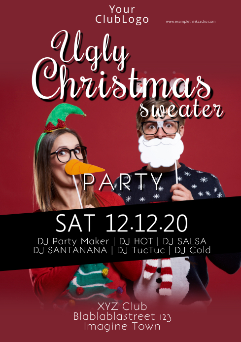 ugly christmas sweater party xmas ivitation A4 template