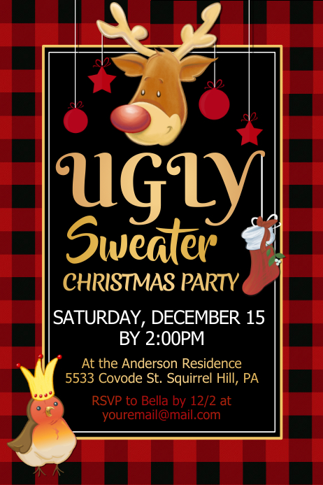 Ugly Sweater Christmas Party Poster Template
