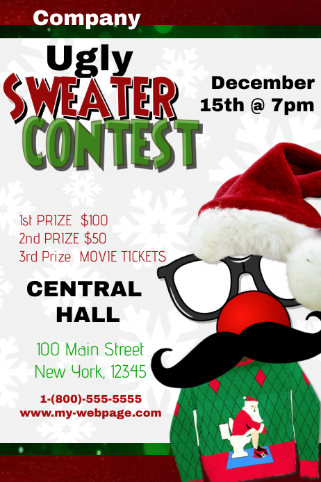 Christmas Contest Flyer.Ugly Sweater Contest Template Postermywall