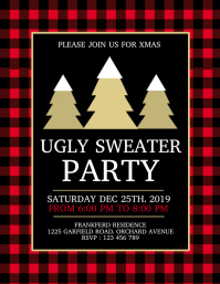 ugly sweater party, christmas flyer