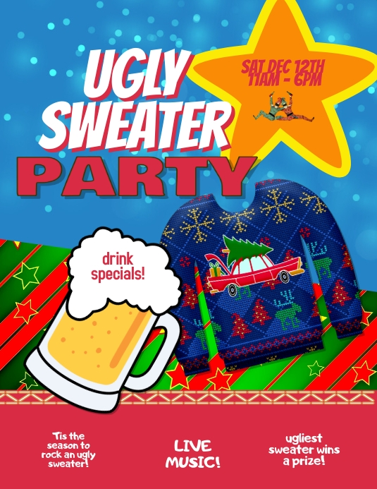 Ugly Sweater Party Event Flyer Template