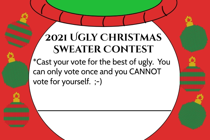 Ugly Sweater Voting Card Etichetta template