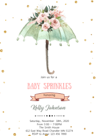 Umbrella baby sprinkle theme invitation A6 template