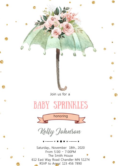 Umbrella baby sprinkle theme invitation A6 template