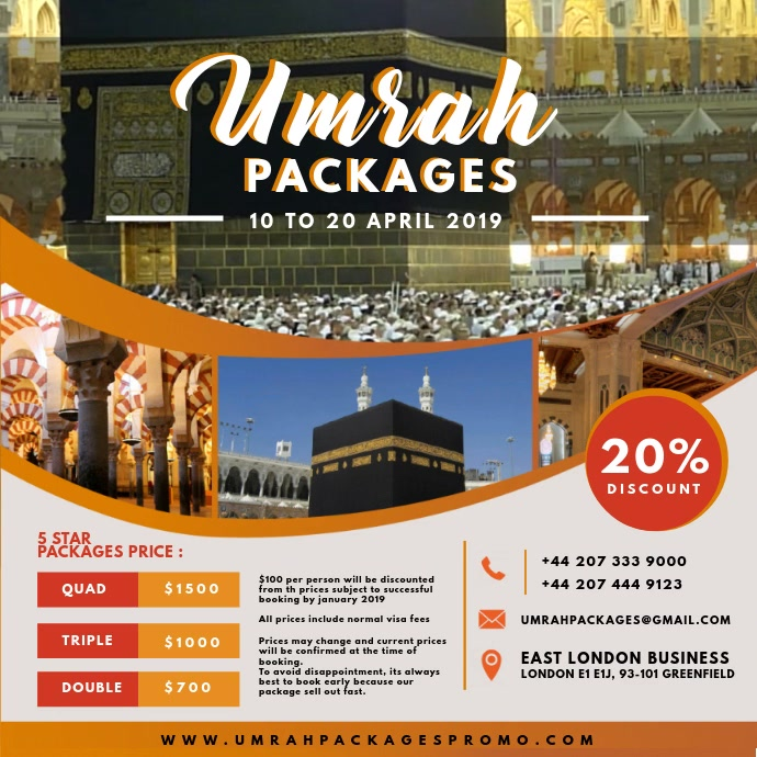 Umrah Packages Travel Advertisements โพสต์บน Instagram template