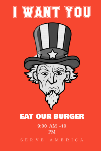 Uncle Sam Burger Poster Template