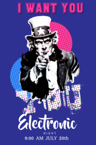 Uncle Sam Dance Club Poster template