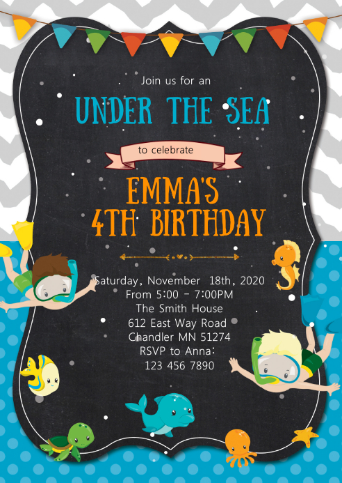 Under the sea birthday party invitation