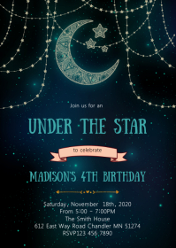 Under the star birthday party invitation A6 template