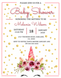Unicorn Baby shower invitation Template