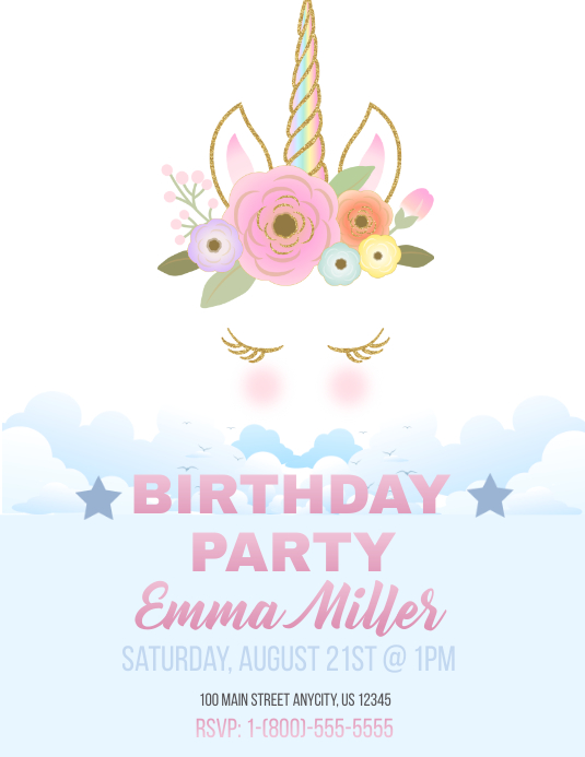 Unicorn Bday Invite Рекламная листовка (US Letter) template