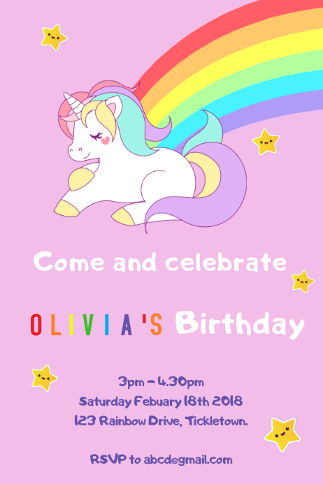 Unicorn Birthday Invitation Template Postermywall
