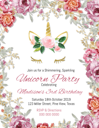 Unicorn Birthday Invitation Pamflet (Letter AS) template
