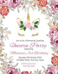 Unicorn Birthday Invitation Pamflet (Letter AS) template