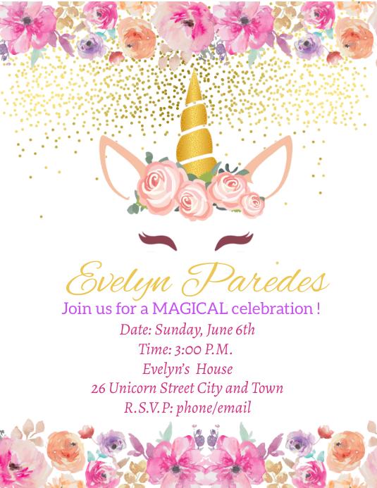 Unicorn Birthday Invitation Flyer (US Letter) template