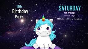 Unicorn birthday party video invitation งานแสดงผลงานแบบดิจิทัล (16:9) template