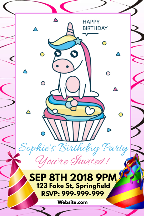 unicorn birthday poster template postermywall