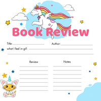 Unicorn Cartoon Book Review Instagram Post Te template
