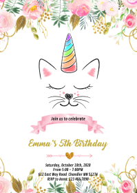 Unicorn cat princess birthday invitation