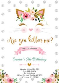 Unicorn cat princess birthday invitation A6 template