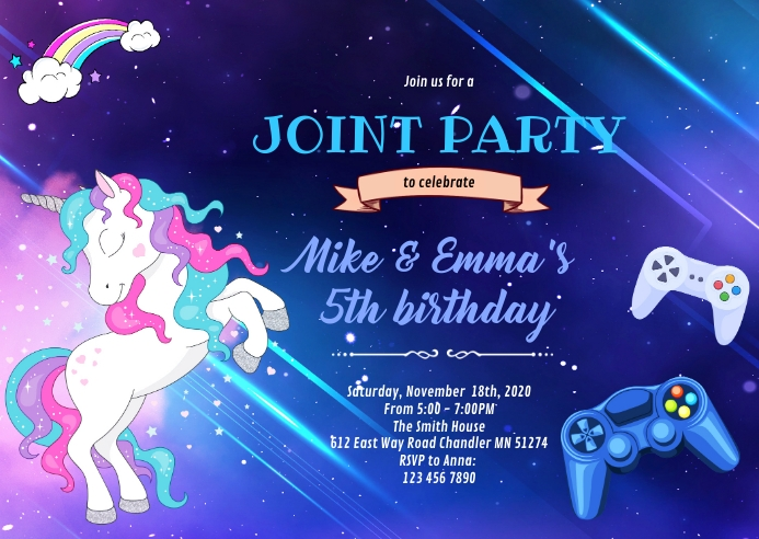 Unicorn game joint party birthday A6 template
