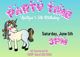 Unicorn Girls Birthday Invitation