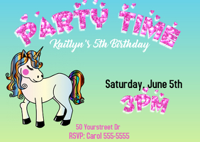 Unicorn Girls Birthday Invitation