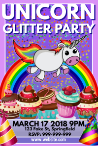 Unicorn Glitter Party Poster Flyer