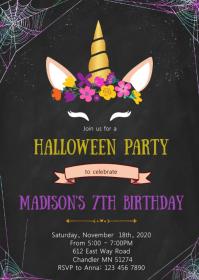 Unicorn halloween birthday party invitation A6 template