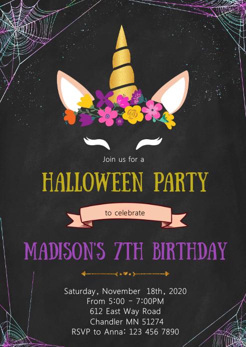 Unicorn halloween birthday party invitation