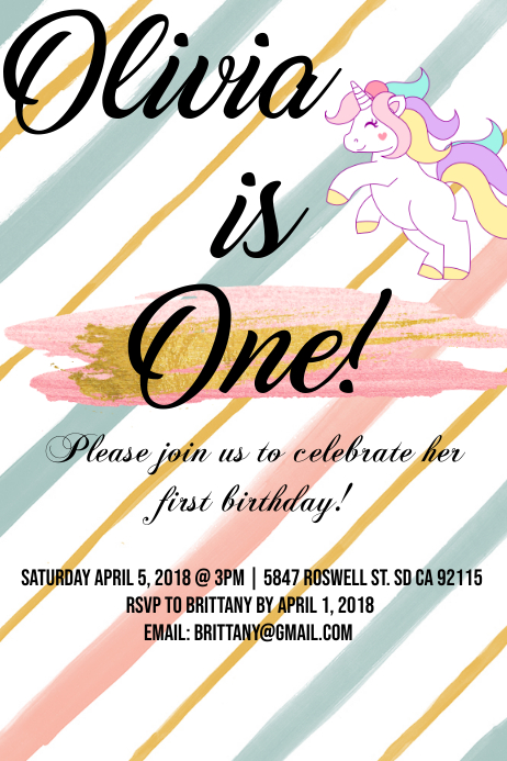 Unicorn invitation template postermywall unicorn invitation customize template stopboris Images