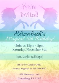 Unicorn Magical Birthday Invitation - Rainbow