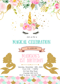 Unicorn mermaid birthday party invitation