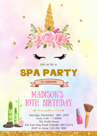 Unicorn spa birthday party invitation A6 template