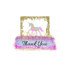 Unicorn Thank You Sticker Logo template