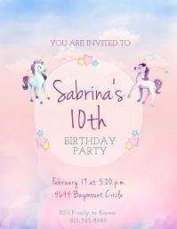 Unicorn Themed Watercolor Birthday Invitation