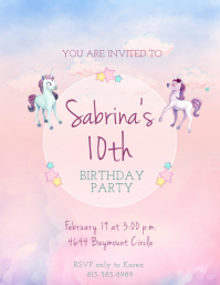 Unicorn Themed Watercolor Birthday Invitation
