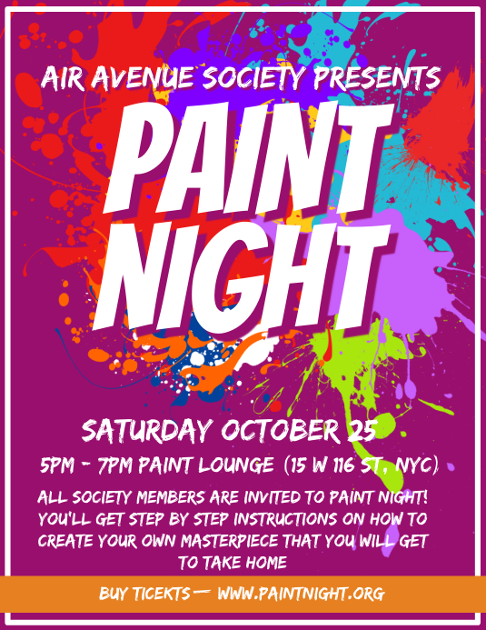 University Paint Night Event Flyer Design template