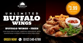Unlimited Buffalo Wings Social Media Template Facebook Shared Image