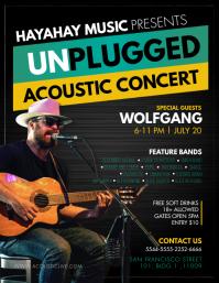 Unplugged Acoustic Concert Flyer Template Folheto (US Letter)