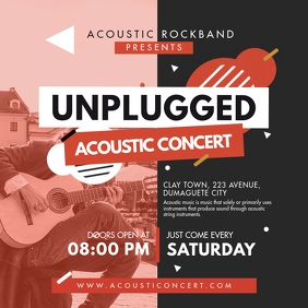Unplugged Acoustic Rock Concert Ad Instagram Post template