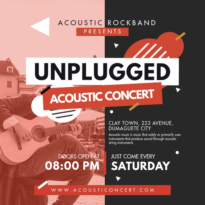 Unplugged Acoustic Rock Concert Ad Instagram-bericht template