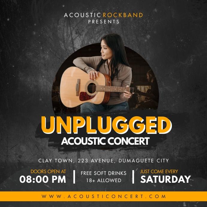 Unplugged Local Concert Advert โพสต์บน Instagram template