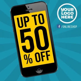 Up to 50% smartphone online sale animation
