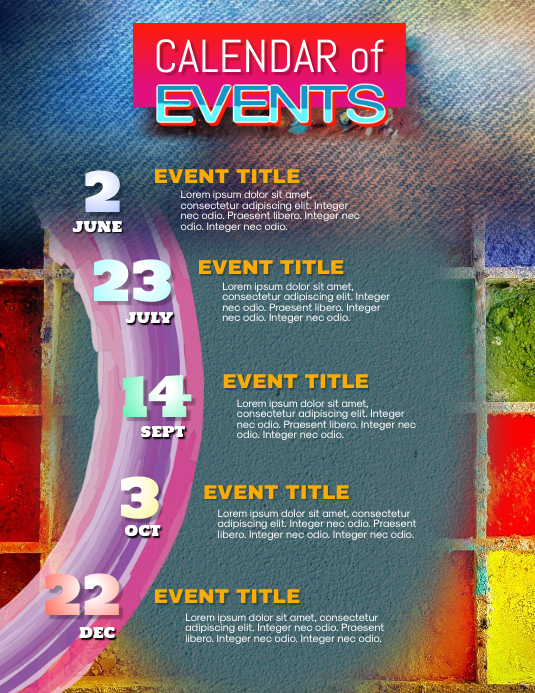 upcoming artistic calendar of events flyer