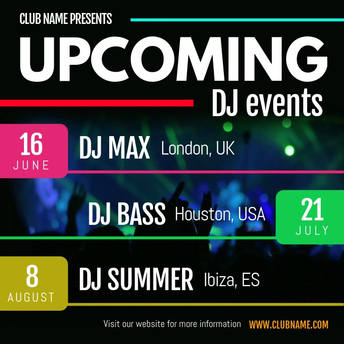 Upcoming DJ Events Schedule Square Video