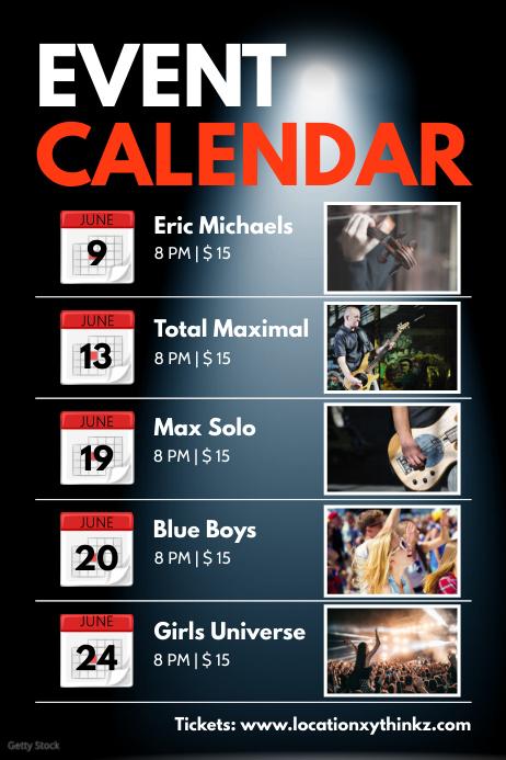 Upcoming Events Calendar Planner Next Concert