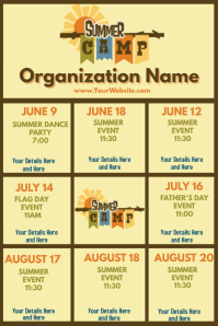 Upcoming Events Calendar Summer Camp